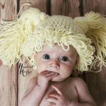 Baby with crochet pigtail wig hat